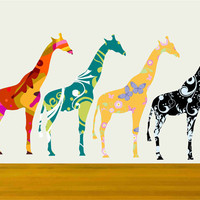 Small Giraffe Decals Stickers With Colorful Pattern Set Of Four | Luulla