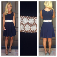 You Drive Me Daisy Flare Dress - NAVY