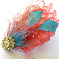 Wedding Hairpiece, Great Gatsby Wedding,1920s,Coral,Peach, Aqua Bridal Head Piece, Accent Small , Fascinator,