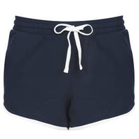 Contrast Sport Seam Runner Shorts - Navy Blue