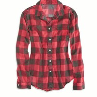 AEO Factory Women's Girlfriend Plaid Shirt