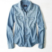 AEO Women's Chambray Shirt (Medium Wash)
