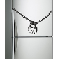 Chain and Lock Vinyl Sticker for Refrigerator or Fridge, Art Decor Decal for Furniture! Free shipping! Make your Kitchen more Funny !