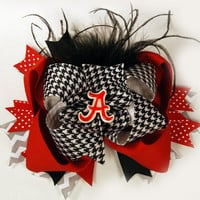 Over the Top Hair Bow,  Bama Bow, Alabama Football, Large Boutique Hair Bow
