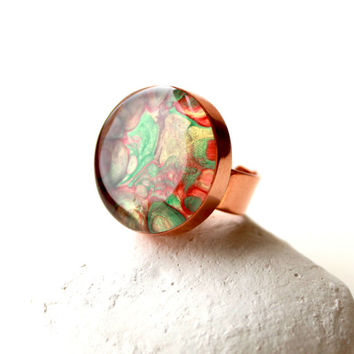 Copper Adjustable Ring, Hand-Painted Ring, Bezel Ring, Big Round Handmade Copper Ring, Summer Trends,Ring Red -Gold -Green, Copper Settings