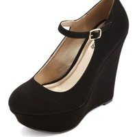 MARY JANE PLATFORM WEDGE PUMPS