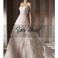 A-Line Strapless Chapel Train Organza Satin Wedding Dress WAL06250