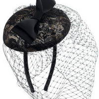 Contrast Lace Pill Box With Bow &amp; Veil at Accessorize