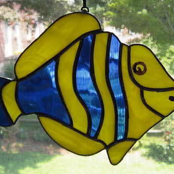 Stained Glass Fish Suncatcher - Blue and Yellow Fish - Nautical Decor - Beach Decor