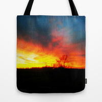 Fire Sky Tote Bag by Mezzilicious