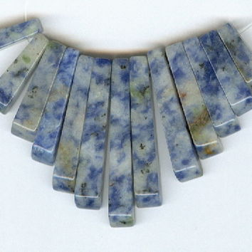 Mini Denim Lapis Cleopatra Collar Fan 13pc Bead Set