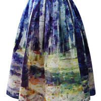 Autumn Forest Painting Midi Skirt Purple