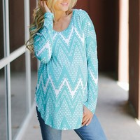 Teal White Tribal Chevron Printed Maternity Top