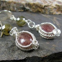Artisan earrings, sterling silver wire wrapped labradorite muscovite | bohowirewrapped - Jewelry on ArtFire