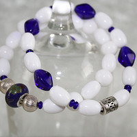Blue and White Stretch Bracelets, Elastic Bracelet, B125