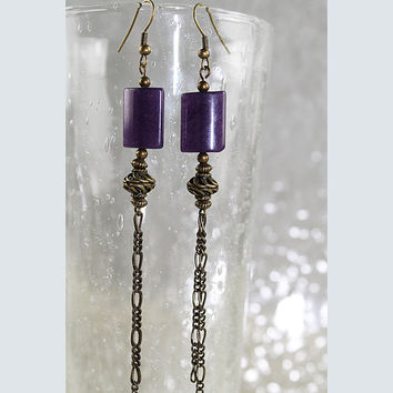 Bohemian Amethyst and Brass Earrings, Long Earrings, Duster Earrings, Dangle Earrings, Pierced Earrings, E107