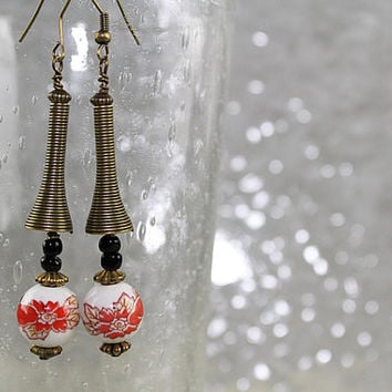 Porcelain Bead and Brass Earrings, Long Earrings, Dangle Earrings, Pierced Earrings, E113
