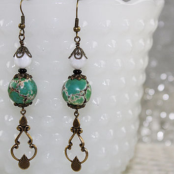 Bohemian Green and Brass Earrings, Long Earrings, Dangle Earrings, Pierced Earrings, E112