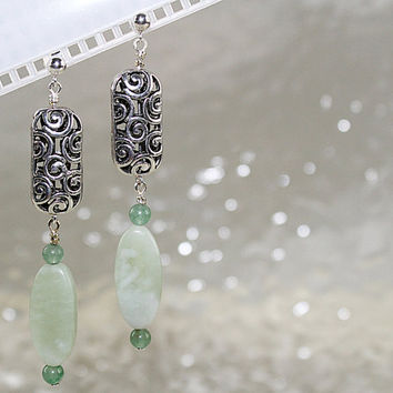 Adventurine Post Earrings with Silver Beads, E101