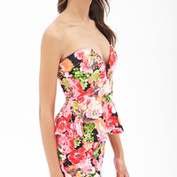 Sweetheart Floral Peplum Dress