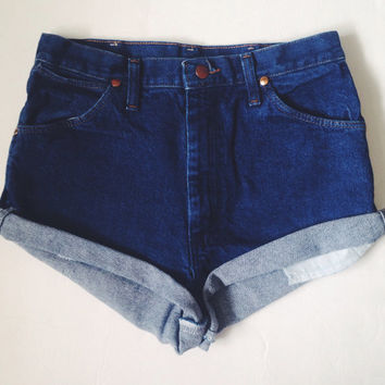 High Waisted Wrangler Cuffed Denim Shorts