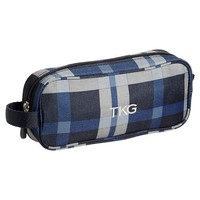 Gear-Up Blue Print Block Plaid Pencil Case