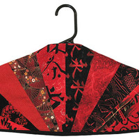 Garment Bag Hanger Cover - Starburst Pieced - Black & Red