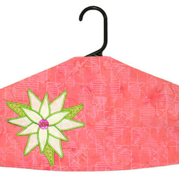 Garment Bag Hanger Cover - Magnolia on Coral Batik
