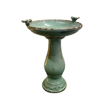 Antique Ceramic Birdbath w/ 2 Birds -Turquoise