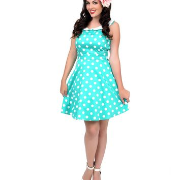 Mint & White Polka Dot Collared Fit N Flare Dress