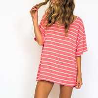 Eau Paix Vie Sleepyshirt in pink/white stripe