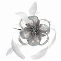 Silver Grey Crystal Lace Fascinator Band