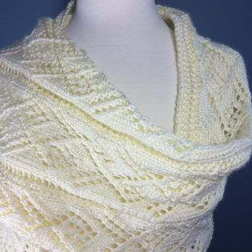 Hand knit Shawl Wrap Ladder Lace Winter White Caron Simply Soft Cream