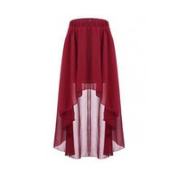 Anomalous Hem Red Skirt