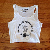 Radiate Positive Vibes Cropped tank women's clothing brandy Melville Inspired golden youth apparel
