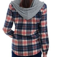 Allegra K Lady Single Breasted Plaids Round Hem Hoodie Shirt Dark Blue M