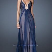 Embellished V-Neck Formal Gown