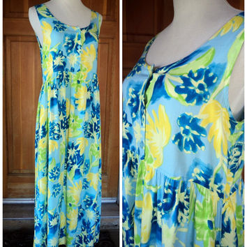 Vintage 90s Maxi Dress Bright Floral Baby Doll Long Dress  Pockets Hippie OS Grunge Summer Dress S 34 B