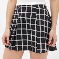 Pleated Windowpane Skirt