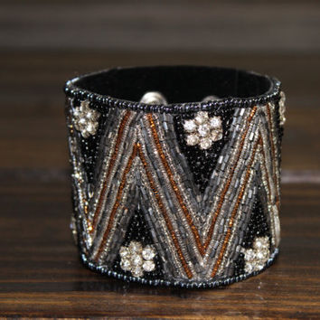 Womens Bohemian Cuff Beaded Bracelet Cuff Boho Accessories Aztec beaded Black Cuff Fabric Snap Cuff Leather Cuffs Bangles and Cuffs