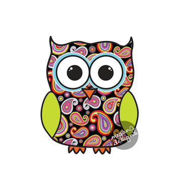 Black Paisley Owl Car Decal - Colorful Cute Owl Bumper Sticker Laptop Decal Pink Yellow Blue Lime Green Animal Bird Sticker