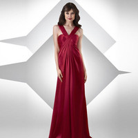 Chiffon V Neck Floor Length Pleated Bridesmaid Dress
