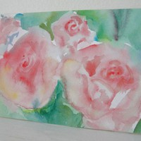 Watercolor Painting Pink Roses Painting Pink by maryrichmonddesign