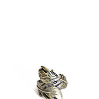 Feathered Finger Brass Ring - $7.50 : ThreadSence.com, Your Spot For Indie Clothing  Indie Urban Culture