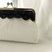 Madison white dupioni silk clutch with by JuliaSherryDesigns