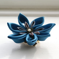 Japanese Hair Accessory/Brooch Kanzashi Flower by cuttlefishlove