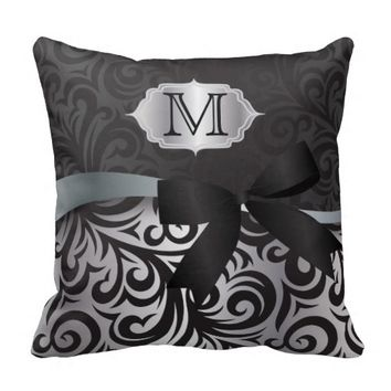 Monogram Black and Silver Floral Print Design