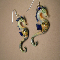 Blown Glass Sea Horse Earrings