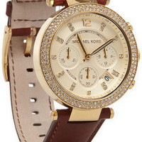 Michael Kors | Leather, stainless steel and crystal chronograph watch | NET-A-PORTER.COM