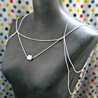 silver and turquoise chain harness by alapopjewelry